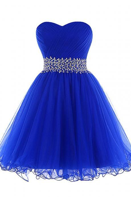 Royal Blue Short Homecoming Dresses, with Sweetheart Neckline Homecoming Dress,Sequin Beaded Waistband Party Dresses