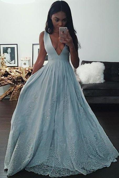 long blue prom dress, charming v-neck Prom Dresses, formal Evening Gown, new arrive prom dress,high quality evening gown,Formal Dress