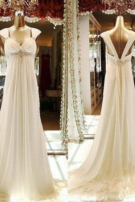 Sexy Sweetheart Wedding Dress,Empire Waist Low Back Chiffon Bridal Dresses,Beaded Ivory Beach Wedding Dresses with Cap Sleeves