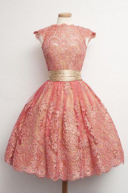 Homecoming Dresses,Junior Homecoming Dresses,Peach lace homecoming dress, cap sleeve lace homecoming dress, short homecoming dresses, homecoming dress, short prom dresses, homecoming dress,Custom Made Evening Dress,Vestido de Noiva, Wedding Guest Dress
