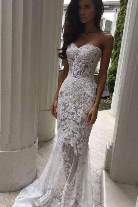 Charming White Lace Wedding Dresses,Sexy Sweetheart Bridal Dresses,Sexy See Through Wedding Dress ,Formal Dresses, High Quality Prom Dresses, Graduation Dress,Wedding Guest Dress