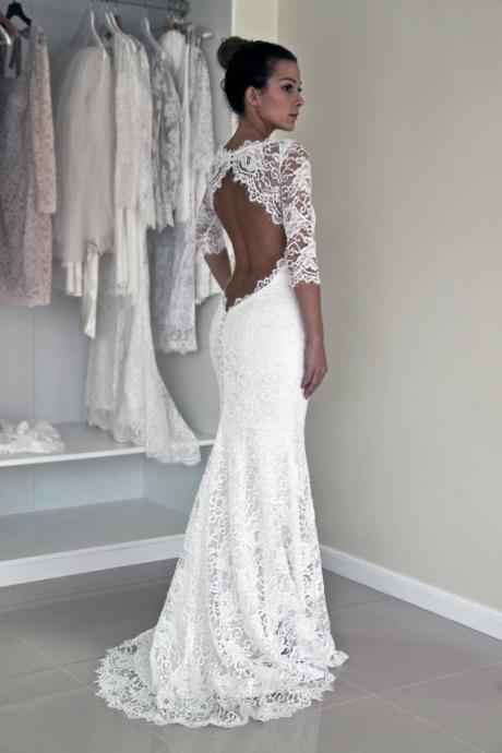 Wedding Dresses, Lace Wedding Gowns, The elegant Bridal Dresses,Backless Wedding Dresses,Wedding Dresses,white wedding dressee,mermaid wedding dresses,1/2 sleeve wedding dresses