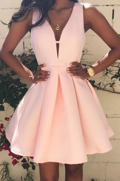 Pink Satin Homecoming Dresses,Short Prom Gown,Pearl Pink Homecoming Gowns,Sweet 16 Dress,Elegant Homecoming Dresses,Short Party Dresses