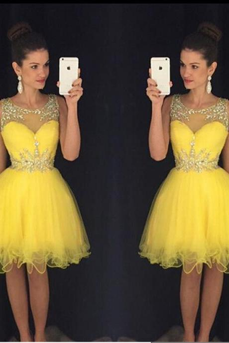 Cute 8th Grade Homecoming Dresses A Line Scoop Beaded Neck Crystals Pleats Short Yellow Tulle Semi Formal Dress Graduation Gowns