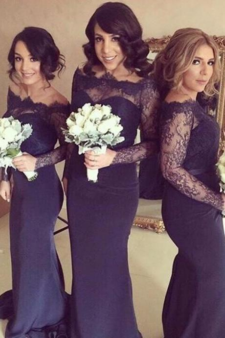 Navy Blue Bridesmaid Dresses, Mermaid Bridesmaid Dress, Lace Bridesmaid Dress, Chiffon Bridesmaid Dress, Long Bridesmaid Dress, Long Sleeve Bridesmaid Dress, Custom Bridesmaid Dresses, Bridesmaid Dresses ,Custom Made Evening Dress,Vestido de Noiva, Wedding Guest Dress