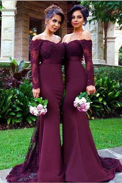 Sexy Long Sleeve Bridesmaid Dresses, Mermaid Long Bridesmaid Dress, Elegant Lace Bridesmaid Dress, Wedding Guest Dress, long bridesmaid dress, dress for wedding, wedding party dress