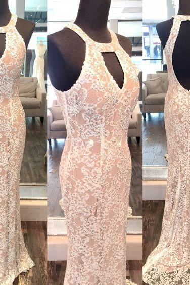 Sexy Halter Evening Dress, Pink Lace Prom Dress, Mermaid Formal Gowns, Prom Dress,Formal Gowns Plus Size, Cocktail Dresses, formal dresses,Wedding guests dresses