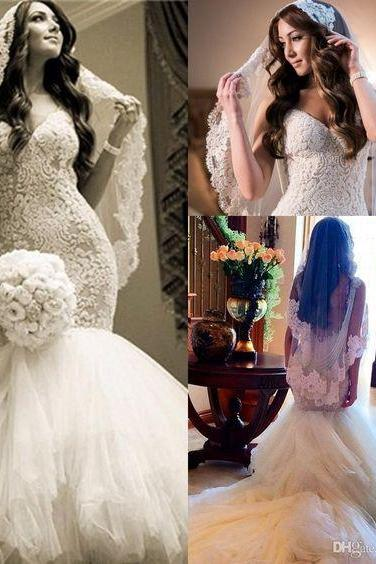 Lace Wedding Dresses,Mermaid Tulle Bridal Dress,White V-Neck Romantic Wedding Dresses, Prom Dress,Formal Gowns Plus Size, Cocktail Dresses, formal dresses,Wedding guests dresses