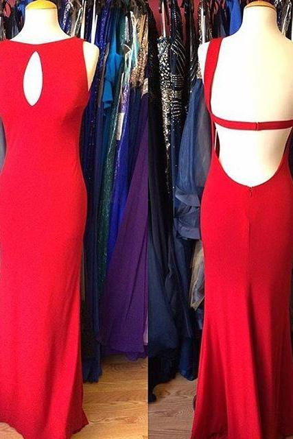 Red Prom Dress,Sleeveless Evening Dress,Sexy chiffon Backless Prom Dresses, Formal Gowns, Prom Dress,Formal Gowns Plus Size, Cocktail Dresses, formal dresses,Wedding guests dresses