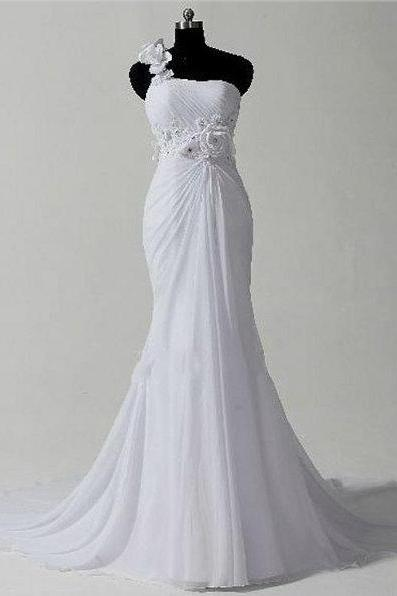 Romantic Wedding Dress, One Shoulder chiffon Wedding Dresses, Mermaid Bridal Dresses, Cocktail Dresses, formal dresses,Wedding guests dresses