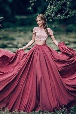 Custom made Two pieces prom dresses,lace long prom dress,pink+burgundy evening dress,Long Prom Dresses,Evening Dresses, Prom Dresses,Long Beading Prom Dresses, Cocktail Dresses, formal dresses,Wedding guests dresses