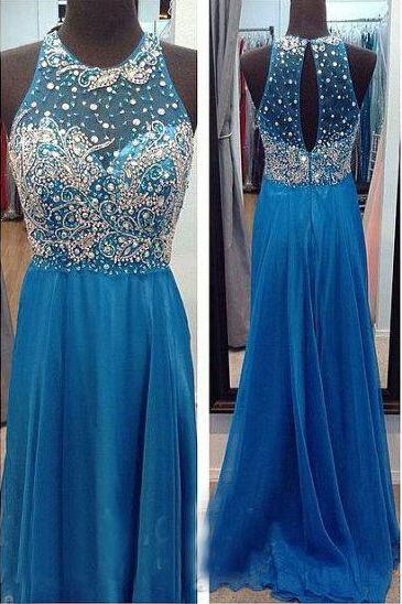 Backless Chiffon Prom Dress, Beading Evening Dresses, Prom Dresses,O-Neck Real Made Prom Dresses On Sale,cheap Sexy Backless Prom Dresses,Beading Evening Dress, Prom Dress, formal dresses,Wedding guests dresses