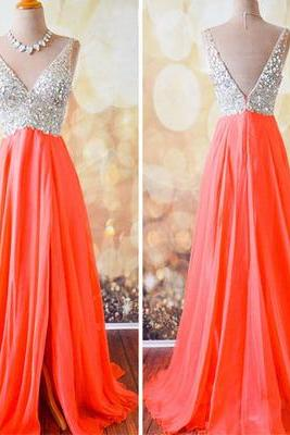 V-Neck Prom Dress, Beading Evening Dress/Prom Dress,Chiffon evening Prom Dress,evening dresses,Prom Dresses, Cocktail Dresses, formal dresses,Wedding guests dresses