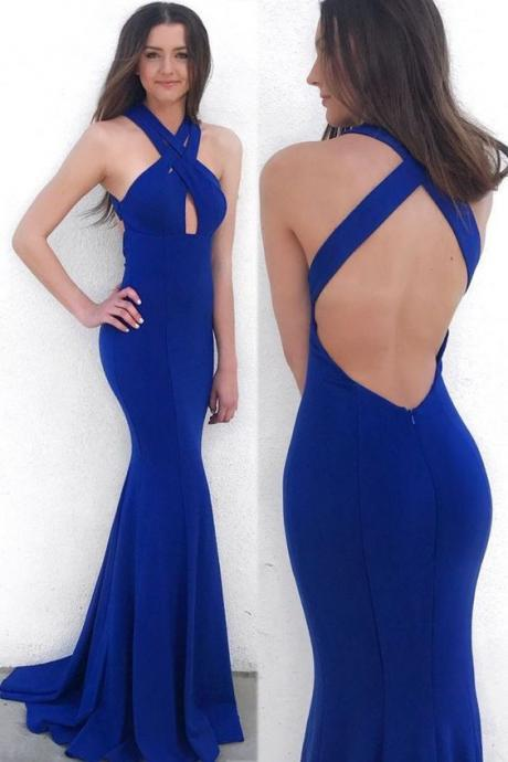 mermaid royal blue prom evening gowns with backless, fashion formal gowns with key hole for party