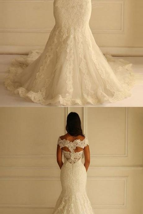 Elegant Off-the-Shoulder wedding dresses, Sleeveless Open Back sexy bride dresses, Appliques Lace Mermaid bodycon Wedding party Gown