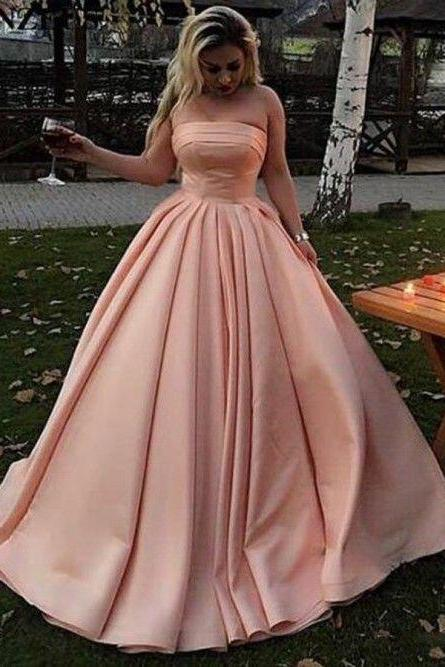A-Line Strapless Sweep Train Long Pink Satin Prom Dress with Pleats,Long Party Gowns