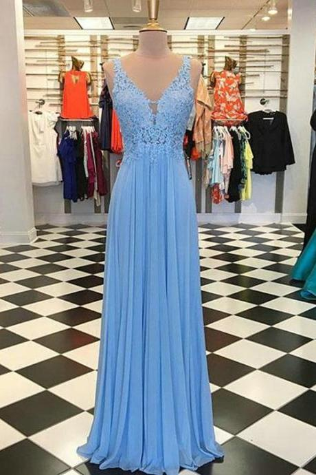 Sexy Blue Prom Dresses with V-Neck Appliqued Lace Long Chiffon Party Gowns