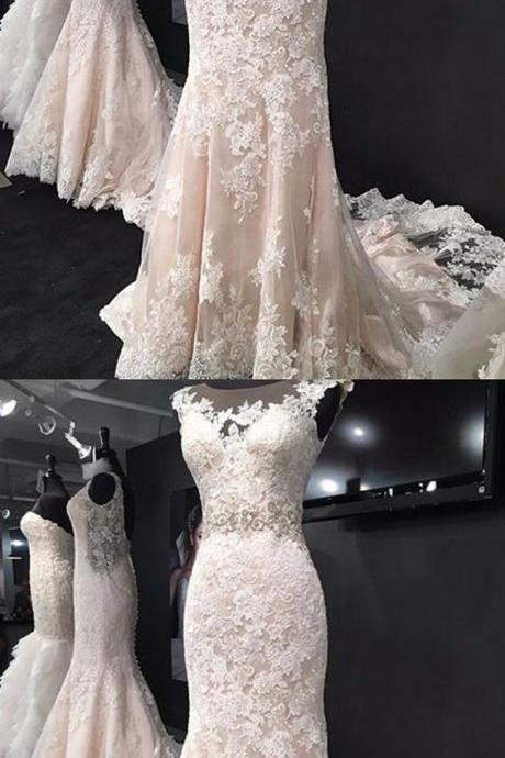 elegant scoop neck wedding dresses, sleeveless sweep train classic bride dresses