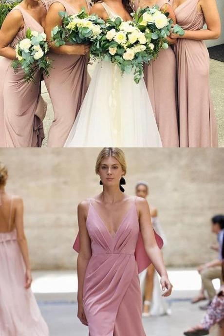 Blush Pink Spaghetti Strap V-Neck Pleated Long Sheath Bridesmaid Dress with Slit