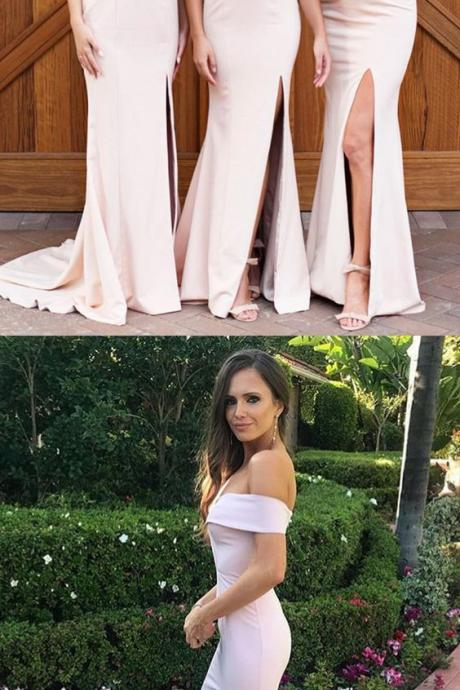 Pink Off-The-Shoulder Sweetheart Mermaid Bridesmaid Dress with Slit and Train