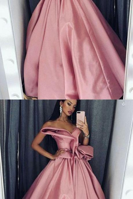 A-Line Sweetheart Floor-Length Pink Satin Prom Dress with Ruffles, modest blush pink sweetheart evening dresses, unique party dresses with ruffles
