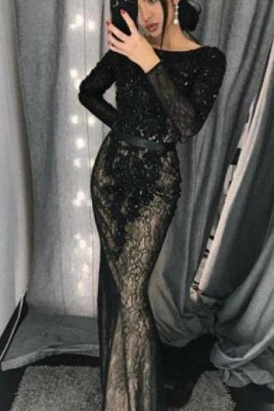 unique black mermaid long sleeves prom dresses, modest lace party dresses with sleeves, elegant trumpet evening gowns with beading