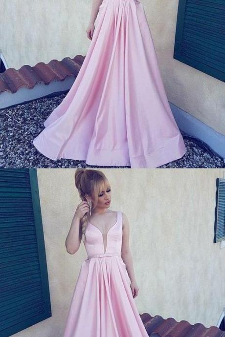 modest pink evening dress,deep v neck long prom dresses, simple floor length satin party dresses, elegant evening gowns with bow pleats