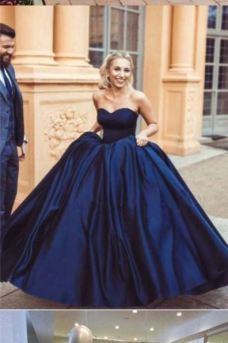 Ball Gown Prom Dresses,Sweetheart Burgundy Prom Dresses,Dark Navy Long Chic Prom Dress,Evening Dress