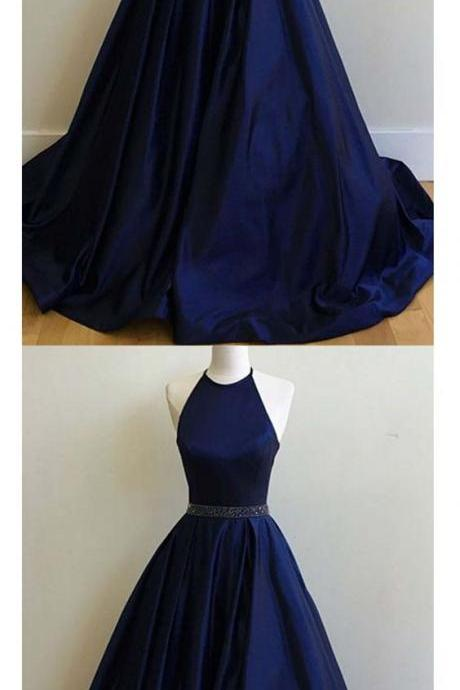 Satin Prom Dresses, Halter Dark Navy Prom Dress,Ball Gown Long Prom Dress,Evening Dress