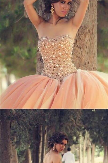 Ball Gown Prom Dresses,Sweetheart Floor-length Prom Dress,Tulle Rhinestone Prom Dress,Evening Dresses