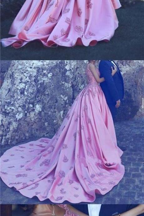 Beautiful Wedding Dresses, Fuchsia A-line Appliques Wedding Dress,Pink Satin Bridal Gown,Formal Dress,Evening Dresses