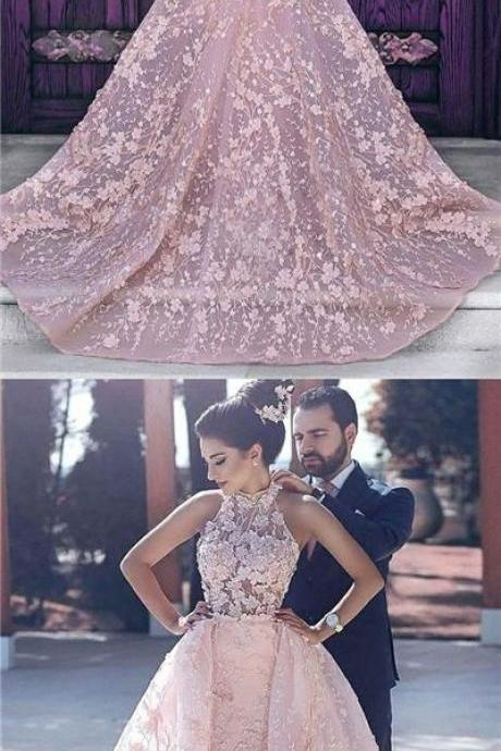Luxury Pink Wedding Dresses,Halter Embroidery Organza Prom Dress,Bridal Dress,Long Sexy Formal Dress,Evening Dresses