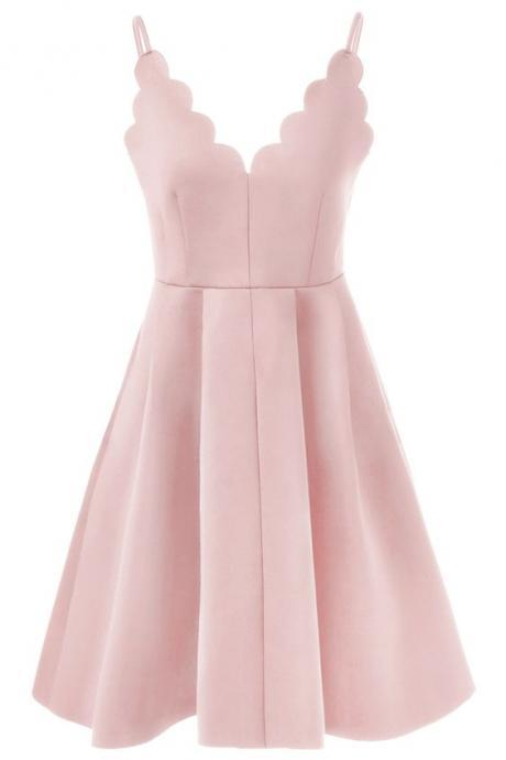 Short Blush Pink Spaghetti Strap Rippled Edge Open Back Evening Dress ,Party Dresses,Sexy Formal Dress,Evening Dresses