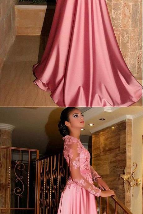 Simple Prom Dresses,New Prom Gown,Gorgeous Satin Jewel A-Line Long Sleeves Pink Prom Dresses With Lace Appliques