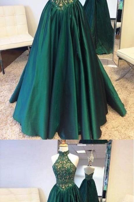 Halter Green A-Line Prom Dress,Floor-length Open Back Lace Top Prom Dresses, Fashion Prom dress,Cheap Evening Gowns,Party Gowns,Modest Prom Dress