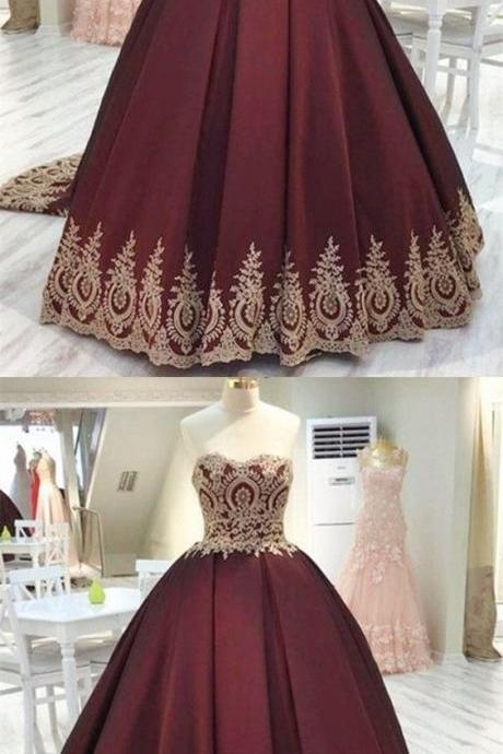 Vintage Gold Lace Appliques Wedding Dresses, Sweetheart Burgundy Satin Quinceanera Dresses, Ball Gowns Wedding Dresses,Long Prom Dresses, Formal Evening Gown