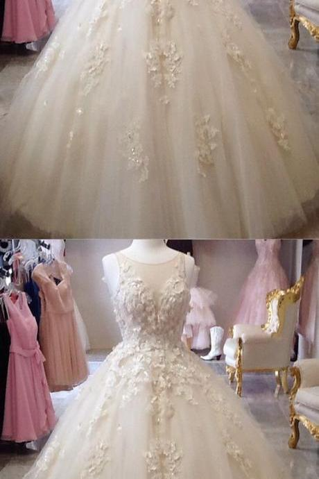 Scoop Neckline Tulle Wedding Dresses,Ball Gowns Quinceanera Dresse,s Lace Embroidery Prom Dress, Champagne Wedding Dress,Long Bridal Dresses, Formal Evening Gown