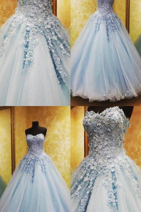 Charming Light Blue Wedding Dresses,Lace Flowers Beaded Wedding Dress,Sweetheart Tulle Ball Gowns Quinceanera Dresses,Long Prom Dresses, Formal Evening Gown