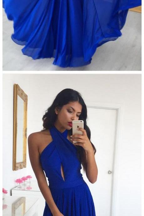Simple Prom Dresses,A Line Prom Gown,Halter Prom Dress,Royal Blue Prom Dresses,Chiffon Prom Dress,Evening Dresses,Long Prom Dresses, Formal Evening Gown