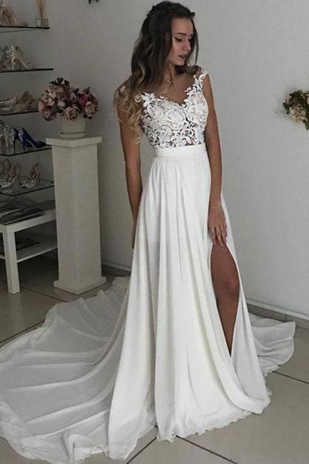 Ivory chiffon lace long prom dresses, lace evening dress,Evening Dresses,Long Prom Dresses, Formal Evening Gown
