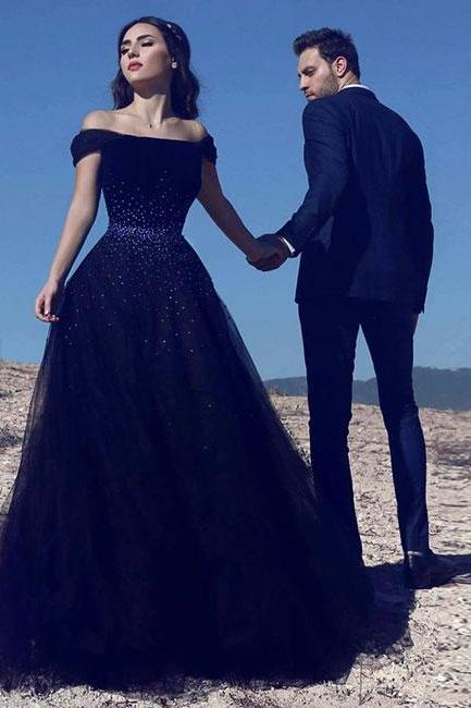Navy Blue Off Shoulder Prom Dresses,Tulle Beaded Long Prom Dress,Blue Evening Dress,Evening Dresses,Long Prom Dresses, Formal Evening Gown