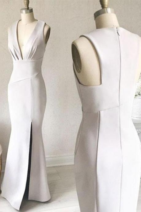 Simple White V-Neck Prom Dresses,Sheath Prom Dress,Long Formal Dress with Slit Side,Evening Dresses,Long Prom Dresses, Formal Evening Gown