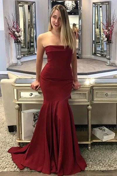 Strapless Burgundy Mermaid Prom Dress,Sexy Sheath Evening Dress,Evening Dresses,Long Prom Dresses, Formal Evening Gown