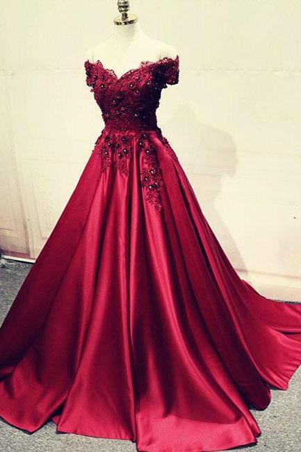 Burgundy lace prom dresses,off shoulder long prom dress, lace evening dress,Evening Dresses,Long Prom Dresses, Formal Evening Gown