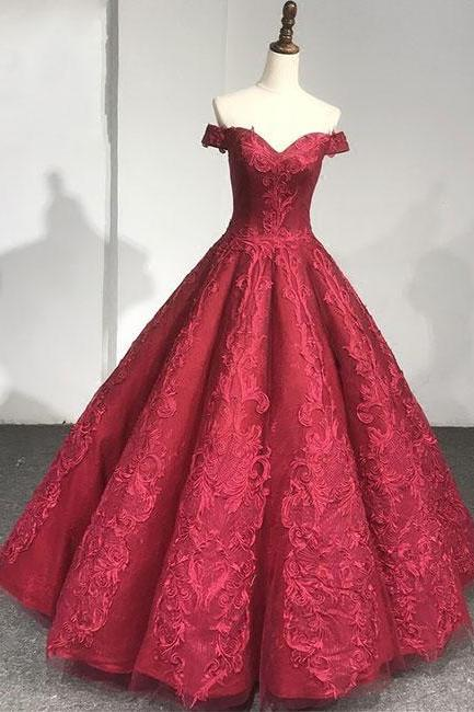 Burgundy lace wedding dresses,off shoulder long Bridal dress, wedding dress,Evening Dresses,Long Prom Dresses, Formal Evening Gown