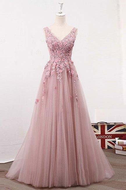 Pink v neck lace tulle long prom dress, pink evening dress,Evening Dresses,Long Prom Dresses, Formal Evening Gown