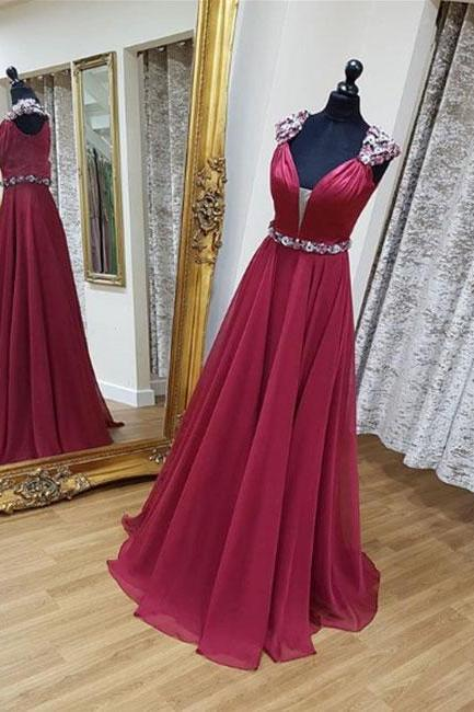 Burgundy v neck long prom dress, burgundy evening dress,Evening Dresses,Long Prom Dresses, Formal Evening Gown