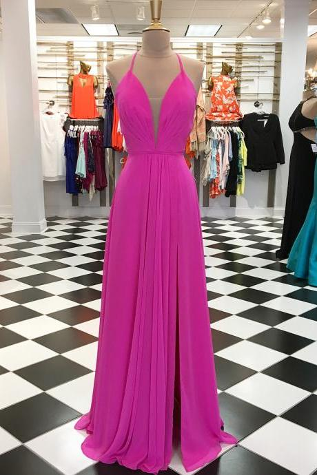 Charming Chiffon Prom Dress, A Line Prom Dresses, Sexy Sleeveless Evening Dress,Evening Dresses,Long Prom Dresses, Formal Evening Gown