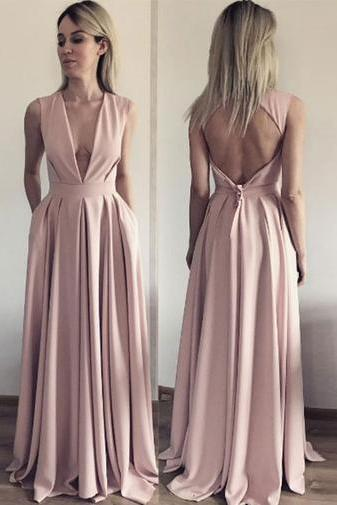 A Line Evening Dress, Open Back Evening Dresses, Deep V Neck Long Prom Dress,Evening Dresses,Long Prom Dresses, Formal Evening Gown