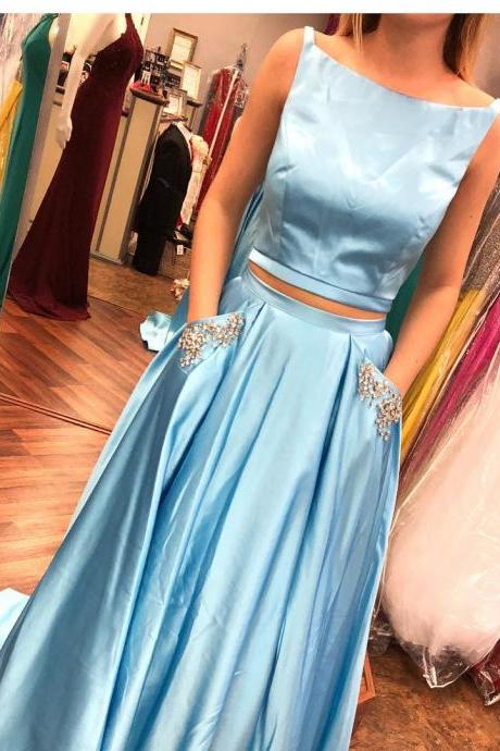 Stylish Two Piece Sky Blue Long Prom Dress with Pockets,Evening Dresses,Long Prom Dresses, Formal Evening Gown